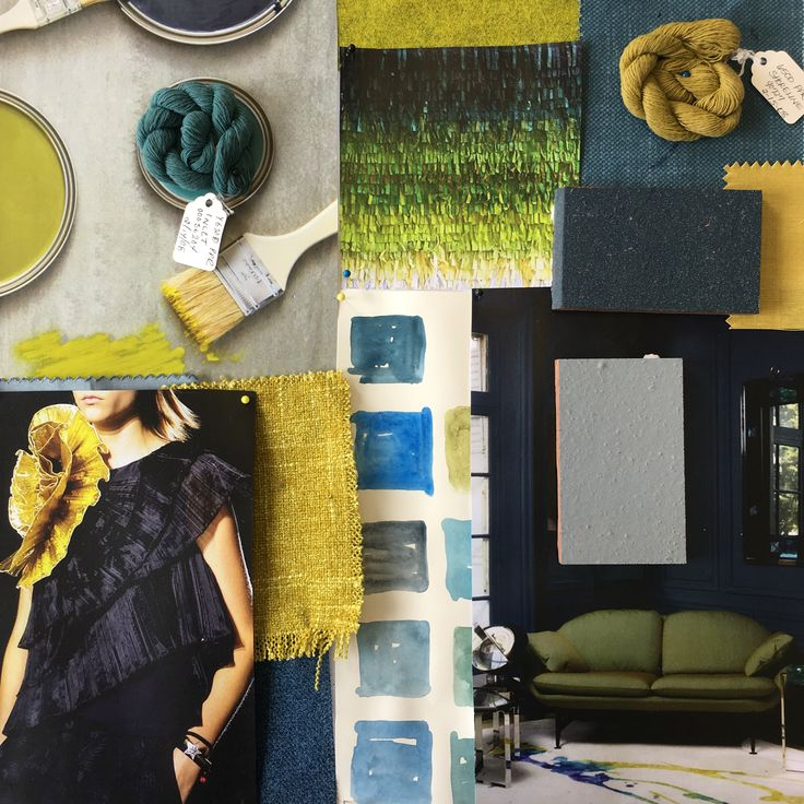 Navy, Green and Chartreuse Moodboard created in the studio