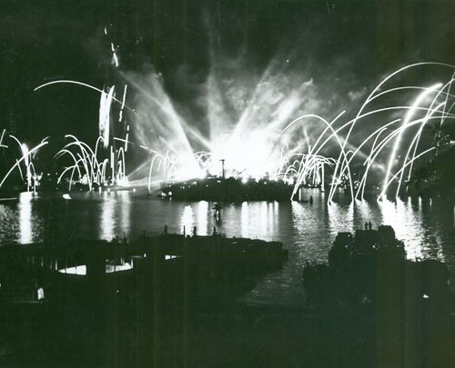 Victory fireworkds over Pearl Harbor
