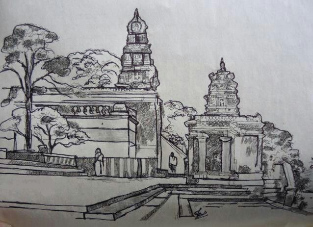 Sketch of an Indian Temple !   Sketches   Sketches, Pencil ...