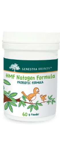 HMF Natogen Formula by Genestra HMF Natogen Formula is a child probiotic formula that provides Lactobacillus salivarius, Lactobacillus paracasei, Bifidobacterium bifidum and Bifidobacterium animalis subsp. lactis, which contribute to a healthy intestinal microflora in children (1-4 years).