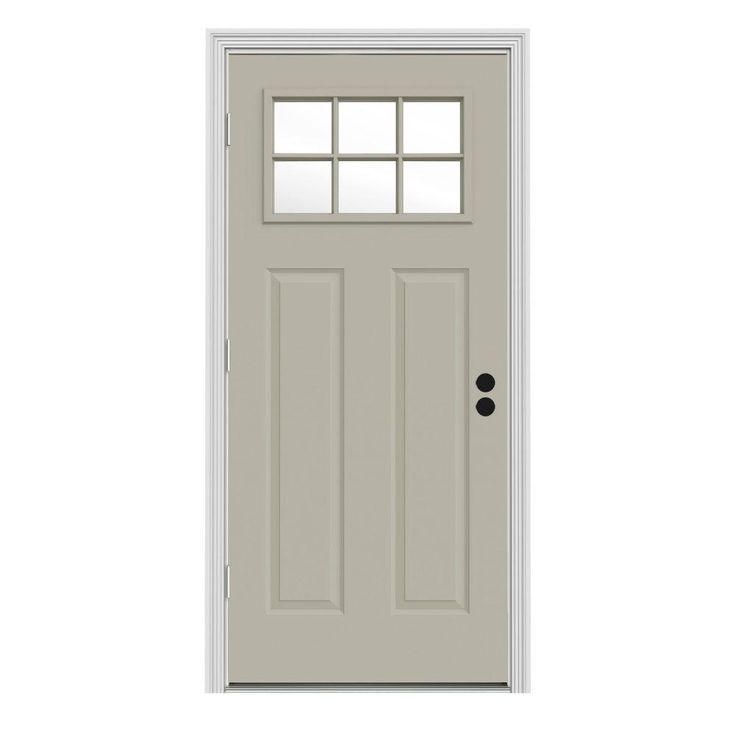 Jeld Wen 32 In X 80 In 6 Lite Craftsman Desert Sand Painted Steel Prehung Right Hand Outswing