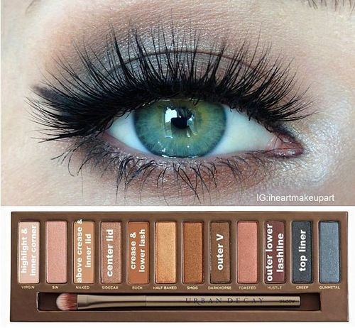 For green eyes makeup I love this palette of colors, worth every penny!  Super versatile!