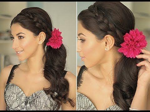 i'm loving braided hairdos: Long Hair Style, Side Ponies, Hair Styles, Side Ponytail Hairstyles, Summer Fun, Pretty Hair, Side Braids, Flower, Side Ponytails