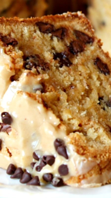Chocolate Chip Peanut Butter Pound Cake with a Peanut Butter Glaze ~ The cake is solidly a peanut butter cake , and it's dotted with milk chocolate chips throughout.