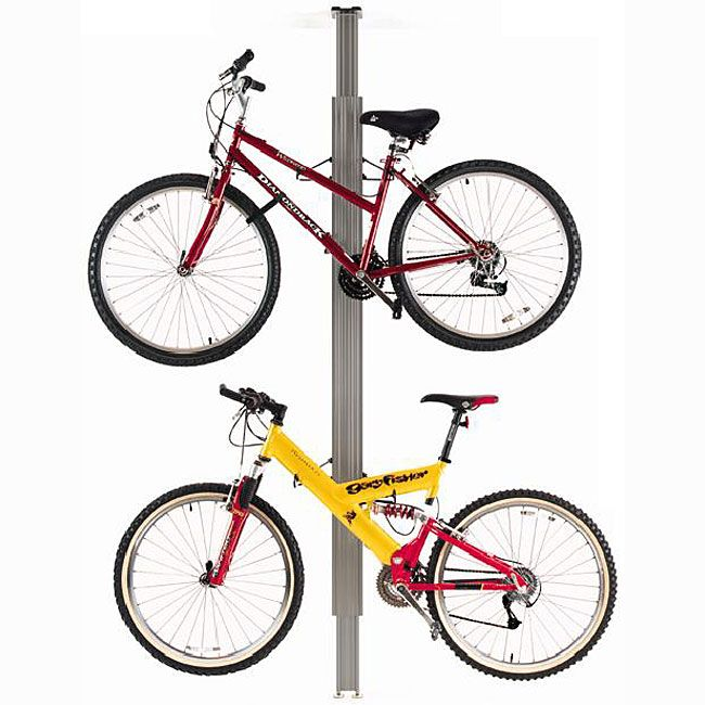 This Floor-to-Ceiling aluminum bike rack utilizes a tension mounting system to hold 2 bikes in an apartment, office, garage or anywhere there is a flat, solid ceiling. The extenders adjust independently to accommodate ceiling heights from 7 to 11 feet.