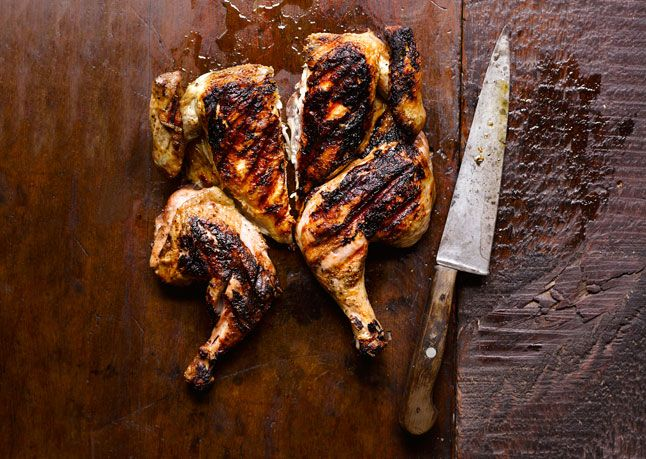 Chicken Under a Brick by bonappetit:Also known as butterflying, spatchcock technique exposes lots of skin directly to the heat, guaranteeing thorough browning and crisping–coaxed futher by pressing with bricks. #Chicken #Spatchcock