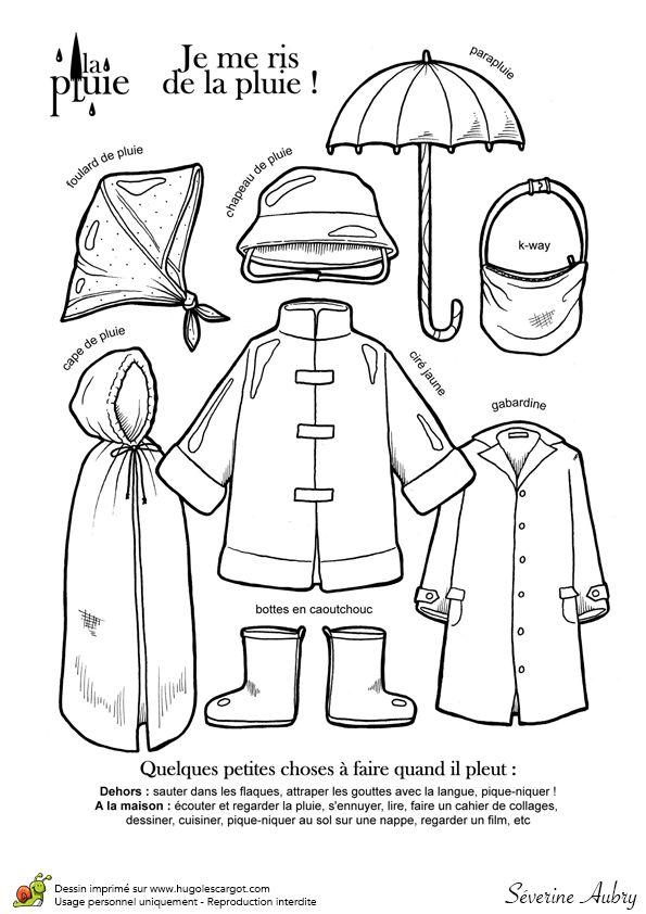 Dessin à colorier de vêtements et d'accessoires de pluie - Hugolescargot.com