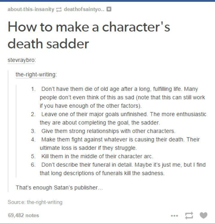 Ways to make a character's death sadder