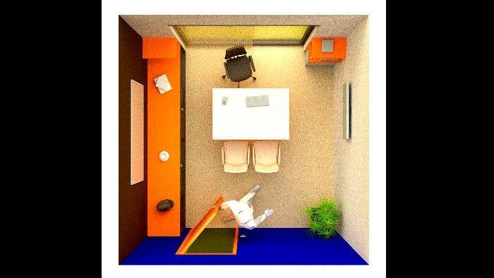 Bureau design  Style minimaliste  Constrast de bleu orangé mélangé par un blanc beige pour le travail et les rencontres d'affaires