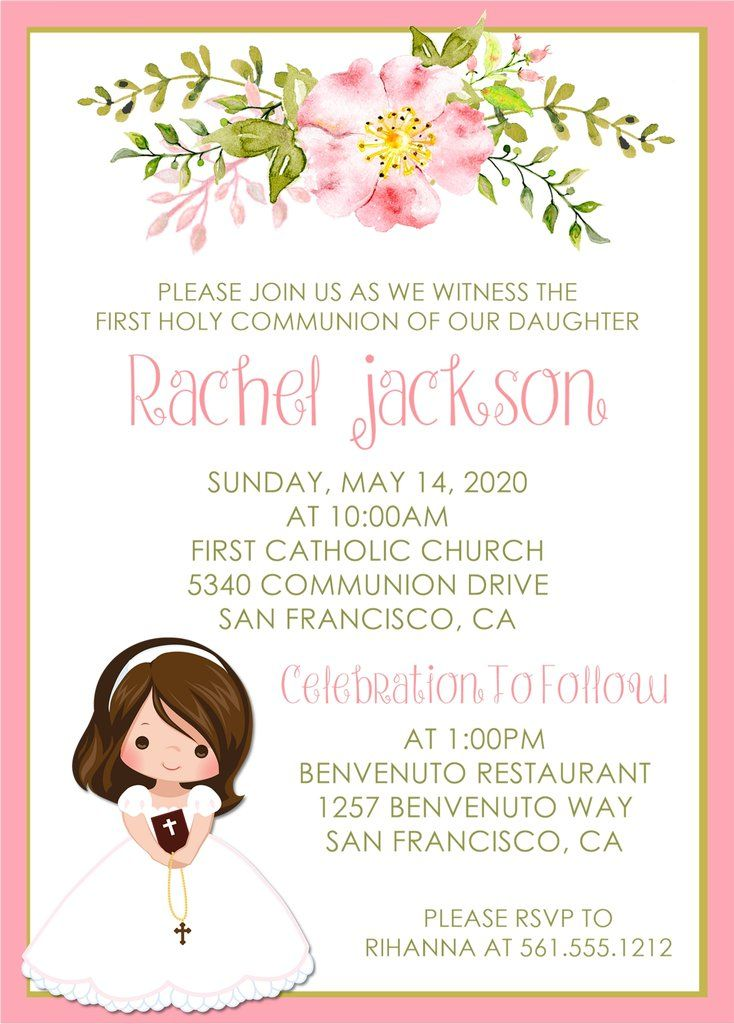 Girls Holy Communion Invitations Holy Communion Invitations First Communion Invitations Communion Invitations Girl