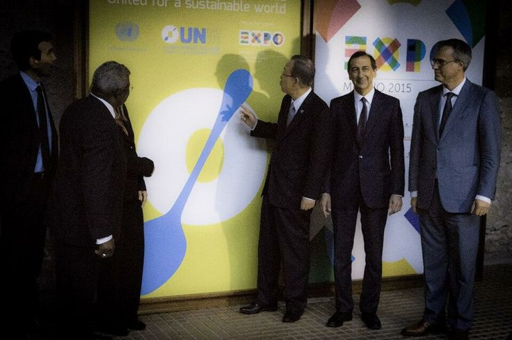 The United Nations Secretary-General unveils the UN's logo for participation in Expo 2015 Milano!