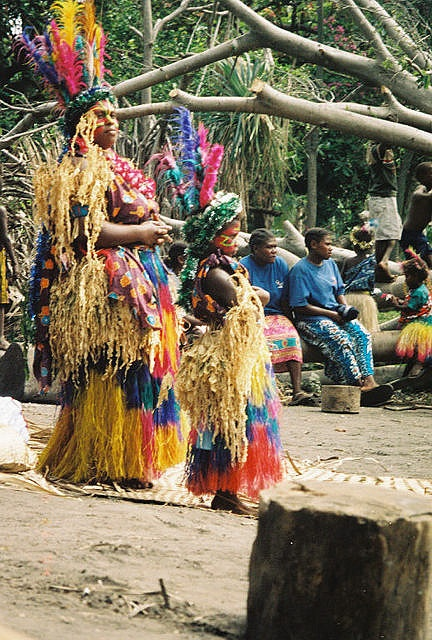 Mother and Daughter at Ceremony in Tanna, Vanuatu Isla