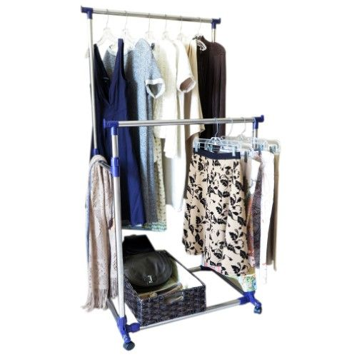 Evelots Heavy Duty Clothes Rack, Portable Double Clothes Hanging Storage Bars, Purple