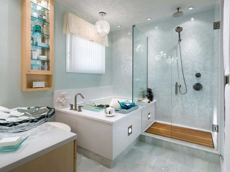 bathroom-wall-cabinet-designs-with-square-bathtub-beside-glass-shower-and-wooden-medicine-cabinet-and-glass-bowl-sink-on-the-vanity