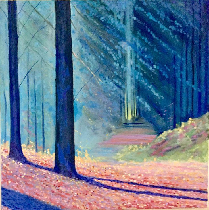 Blue Twilight Emerboweart.  Buy it now on my etsy > https://www.etsy.com/ie/people/emerbowe?ref=hdr_user_menu #Painting #oiloncanvas #Art #oilpainting #oil #canvas #paint #irish #irishartist #EmerBowe #Forests #Forest #Trees #tree #nature #Wildlife