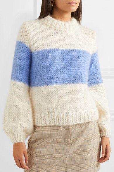 ac2651bd1d7ba GANNI - Striped Mohair And Wool-blend Sweater - Sky blue