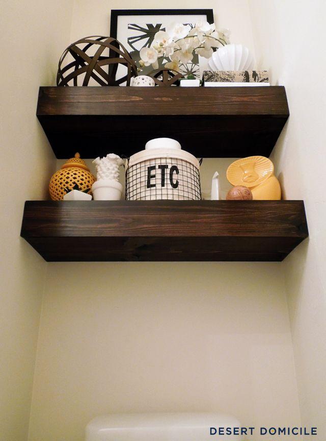 I DIY'd a set of chunky wooden floating shelves for less than $15 per shelf!