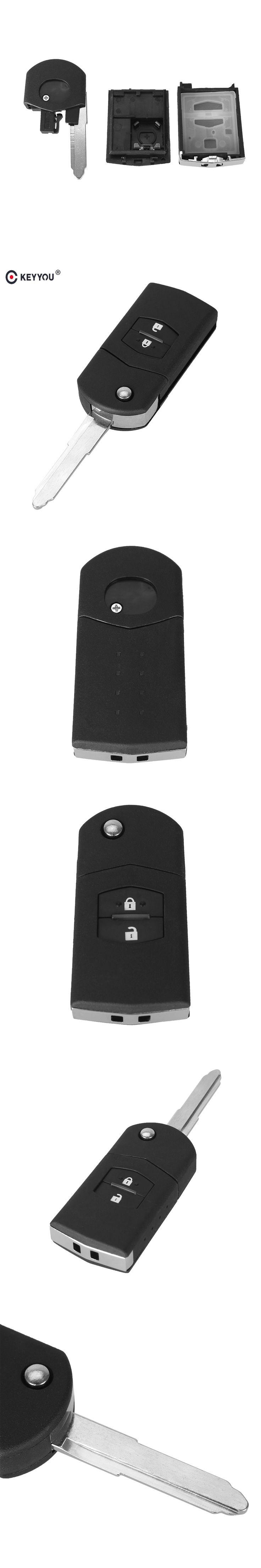 KEYYOU 2 button remote key blank case Folding Flip Remote Key Shell Case Fob PAD FOR MAZDA 2 3 5 6 RX8 MX5 2B Free shipping