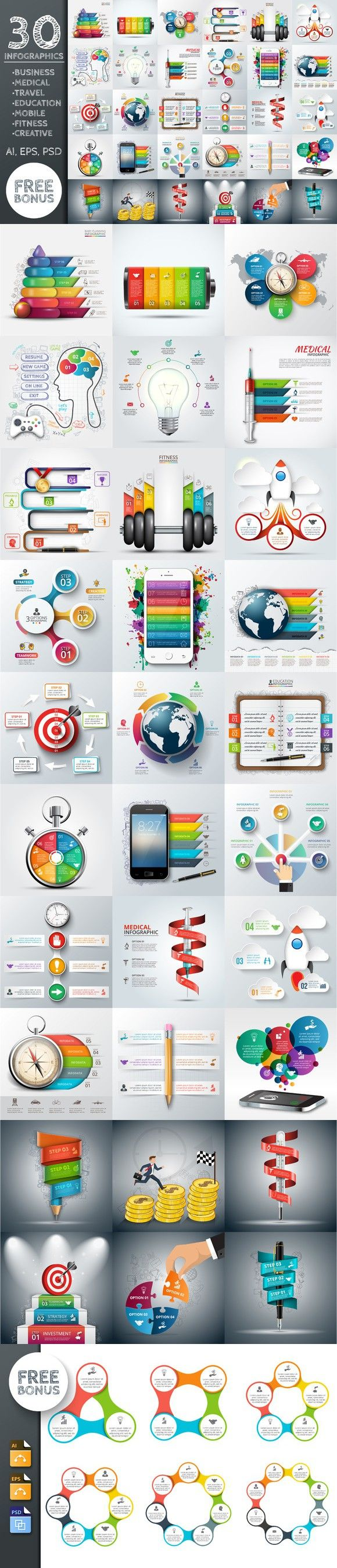 30 business infographic templates. Business Infographic. $15.00