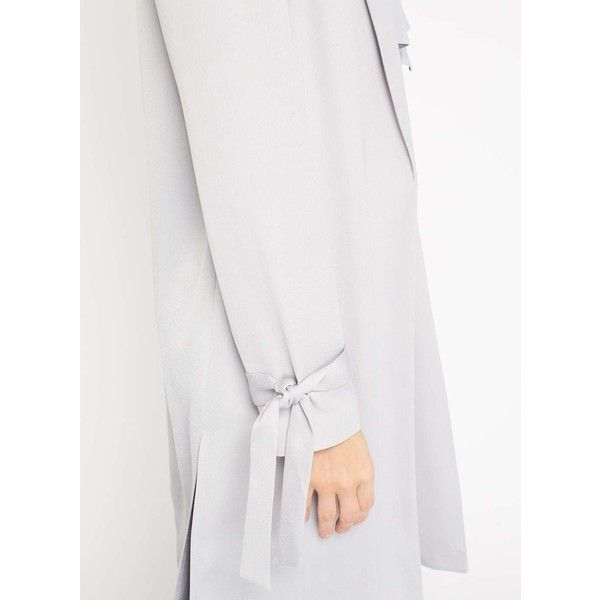 Miss Selfridge Grey Satin Bow Tie Duster Coat (185 SAR) ❤ liked on Polyvore featuring outerwear, coats, grey, grey coat, miss selfridge, duster coat, miss selfridge coats and grey duster coat