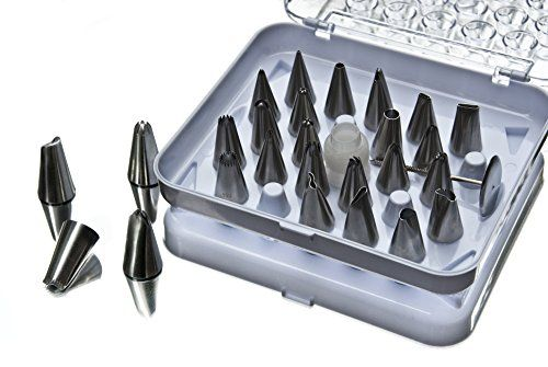 28Piece Cake Decorating Tips Set By Sugar Heights  Kit Includes 26 Stainless Steel Icing Tips 1 Reusable Coupler 1 Flower Nail  Storage Case  Decorate Cakes Cupcakes Cookies and Desserts ** Check out this great product.