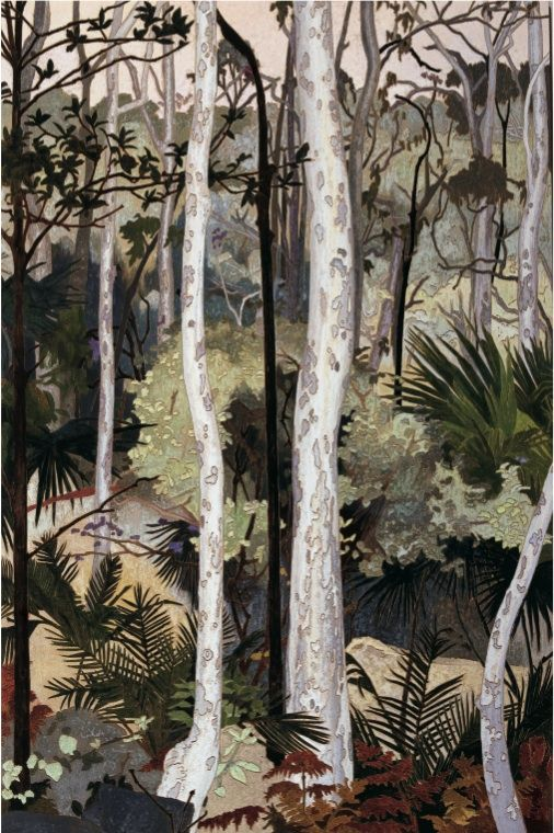 """Spotted Gums"" in 1999 by Cressida Campbell. Woodblock painting"