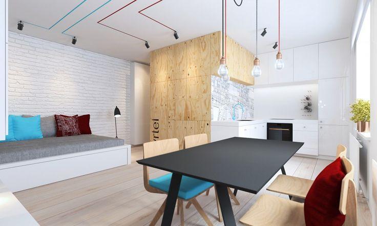 fyrtel to po poznańsku dzielnica - w kuchni widać fragment grafiki nawiązującej do lokalizacji mieszkania w tkance miejskiej