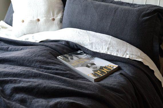 Linen bedding: Heavy Weight Rustic Linen Duvet cover, Charcoal. All sizes.