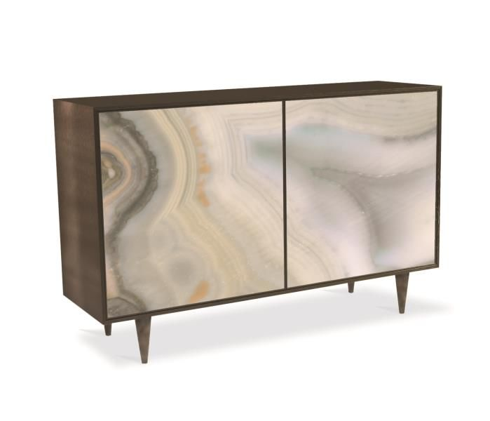 Top #1 pick by Jennifer Brouwer www.Jenniferbrouwerdesign.com   Caracole - Extrav-Agate   Through an artisanal process, this piece's acrylic, double-doors are printed to capture the unique color and organic movement of agate. The doors fit sleekly into a smoky-grey, brushed metal cabinet with inset conical feet. This edgy piece is transformative in nature assured to permeate the space where it resides with modern sophistication. #HPmkt