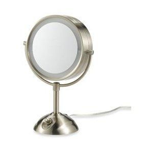 conair be103 lighted 10x satin nickel double sided round makeup mirror 1 of 1