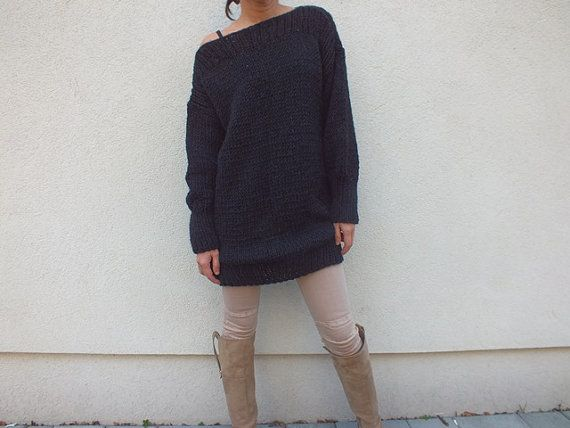 Black Oversized sweater dress /  wool sweater/ Long sweater / Cosy Sweater…