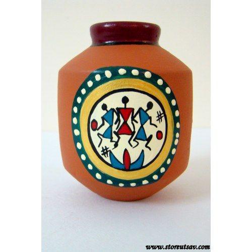 Terracotta Vase Brown Rajasthani with Warli Painting by Store Utsav (www.storeutsav.com)