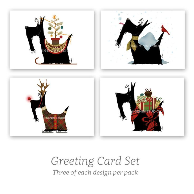Scottie dog Scottish Terrier Christmas holiday greeting card set of 12 cards with four designs by geministudio on Etsy https://www.etsy.com/listing/491589837/scottie-dog-scottish-terrier-christmas