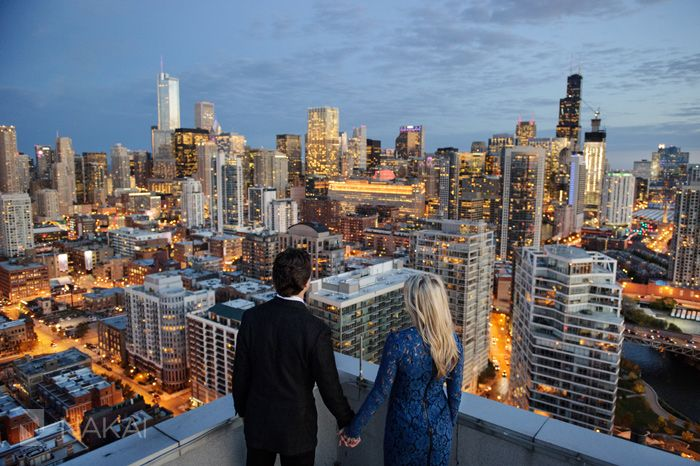 One of the best Chicago engagement skyline photos. Look at those lights! Chicago urban Engagement Photographer - Nakai Photography http://www.nakaiphotography.com