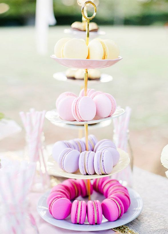 10 Prettiest Pastel Desserts For A Spring Soiree. Macaroons are easily customizable, so have your baker match the cookies to your wedding's color palette.