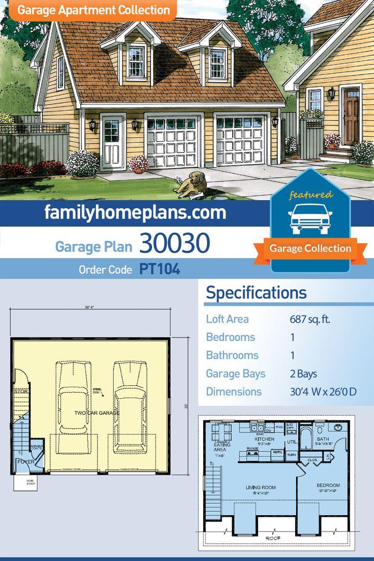 Saltbox Style 2 Car Garage Apartment Plan Number 30030 With 1 Bed 1 Bath Building A Garage Garage Loft Garage Apartments