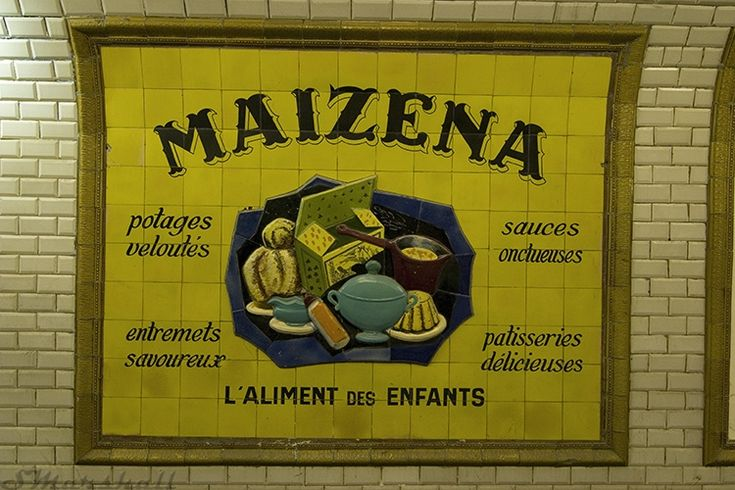 1940's ceramic tile advertisements in the abandoned Saint Martin metro station in Paris.