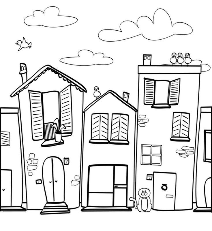 ausmalbild menschen und ihr zuhause häuserzeile kostenlos