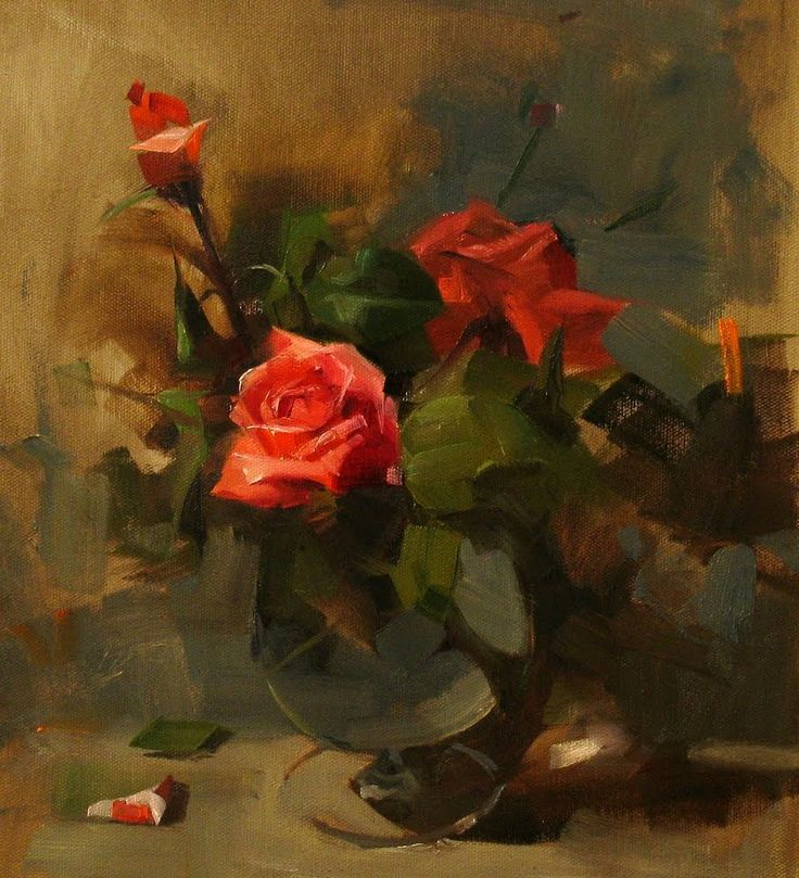 """qiang-huang, a daily painter: """"Roses in Spring"""""""