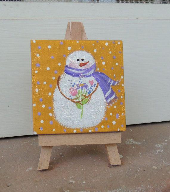 Christmas Ornament Mini Canvas Painting Holiday By ShirleyArt