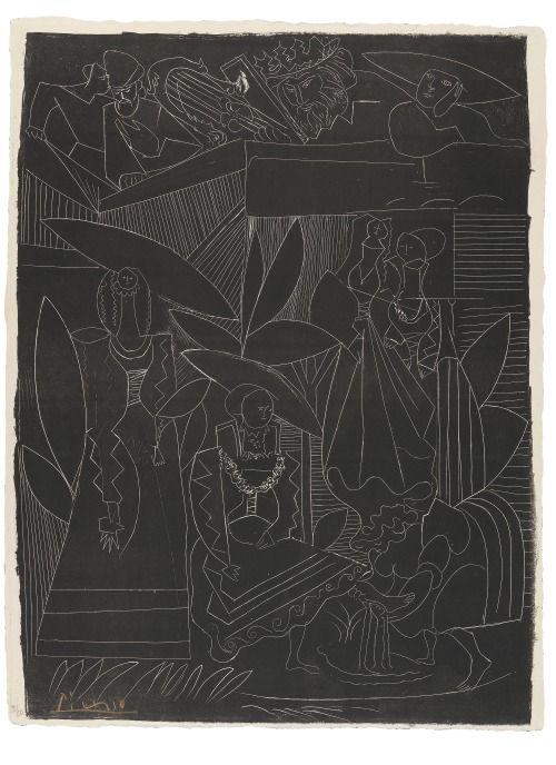 thatsbutterbaby:Pablo Picasso.David et Bethsabée, 1947.Lithograph