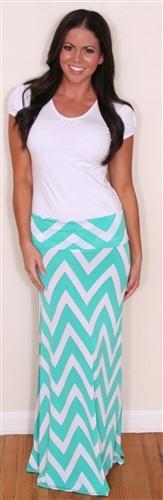 Mint Chevron Maxi Skirt, Maxi Dress,
