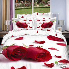 Rosa vermelha da cama definir 3d impressão 4 pc Edredons/Edredon/Colcha/roupa de cama Tampa de cama conjuntos colcha cama branca lençóis para cama Queen king size(China (Mainland))