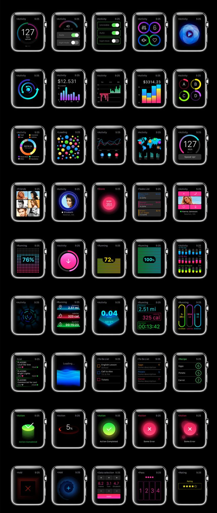 The biggest UI Kit for Apple Watch apps. W1 contains more than 200 screens that will meet any needs you may have in your designing process. Each screen is fully customizable, exceptionally easy to use and carefully assembled in Sketch, which makes it easy to export. W1 UI Kit is the best way for you to design your custom app for Apple Watch.