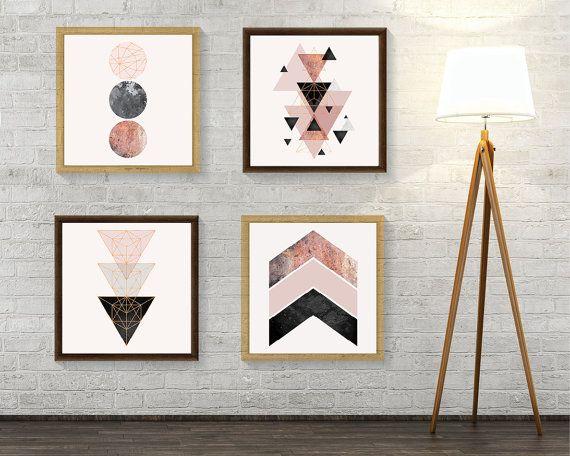Conjunto de 4 impresiones Blush rosa Rose Gold Print Set