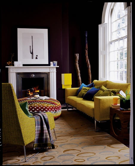 Black, black walls with yellow furniture. So simply, yet stunning beautiful. Sincerely, JoAnne Craft