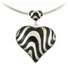 Silver Zebra Heart Pendant | last 2 in stock.