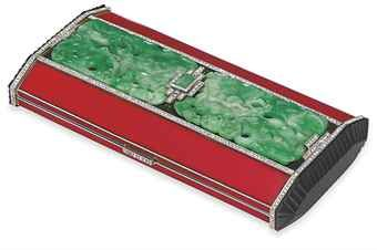 VAN CLEEF & ARPELS art deco enamel, jade and diamond vanity case ca.1925