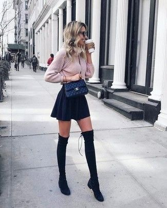 pink knit sweater, black skater skirt, black suede overknee boots, black quilted