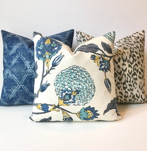 Modern Gray Teal Blue And Yellow Floral Decorative Pillow Cover Floral Decor Pillows Decorative Pillows Large Decorative Pillows